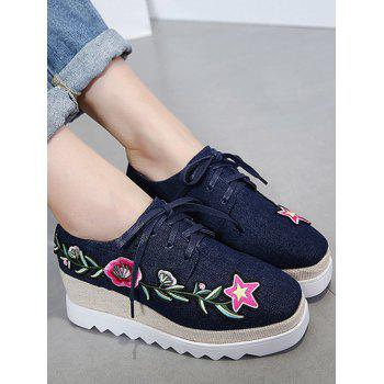 Denim Embroidered Wedge Shoes - DEEP BLUE 39