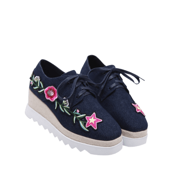 Denim Embroidered Wedge Shoes - DEEP BLUE 38