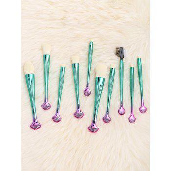10Pcs Multifunction Gradient Color Shell Design Brushes Set - WHITE/GREEN