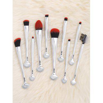 10Pcs Multifunction Gradient Color Shell Design Brushes Set -  SILVER/BLACK