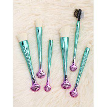 6Pcs Plated Shell Facial Shape Makeup Brushes Kit -  WHITE/GREEN