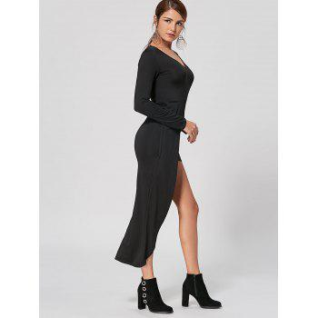 V Neck High Low Club Dress - Noir S