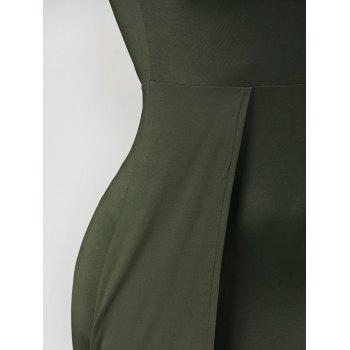 V Neck High Low Club Dress - ARMY GREEN L