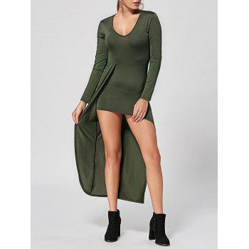 V Neck High Low Club Dress - ARMY GREEN M