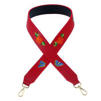 Flower Butterfly Embroidery Bag Shoulder Strap - RED RED