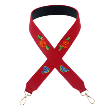 Flower Butterfly Embroidery Bag Shoulder Strap -  RED