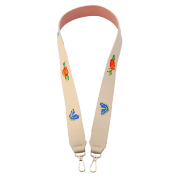 Flower Butterfly Embroidery Bag Shoulder Strap -  OFF WHITE