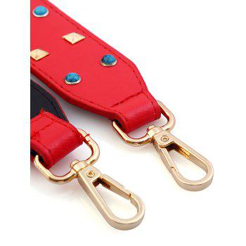 Rivet Beaded Insert PU Bag Strap -  RED