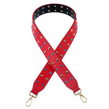 Rivet Beaded Insert PU Bag Strap - RED RED