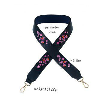 Tiny Floral Embroidered Bag Strap - PURPLISH BLUE
