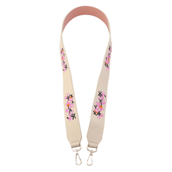 Tiny Floral Embroidered Bag Strap -  OFF WHITE