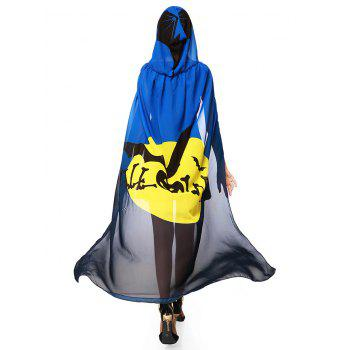 Witch Element Hooded Chiffon Halloween Cape - BLUE/YELLOW