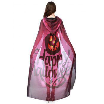Witch Element Hooded Chiffon Halloween Cape - Bordeaux