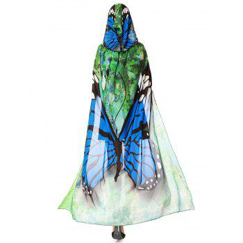 Butterfly Design Chiffon Festival Hooded Cape