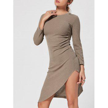Crew Neck Asymmetrical Mini Bodycon Knit Dress - KHAKI KHAKI