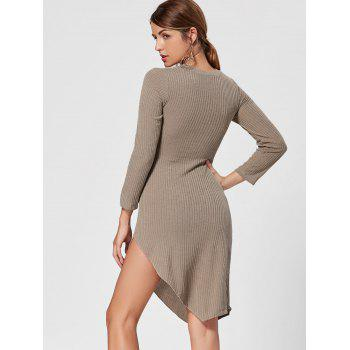 Robe en tricot asymétrique Mini Bodycon - Kaki 2XL