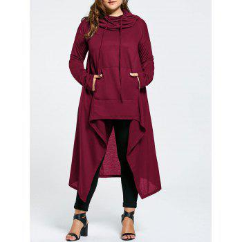 Plus Size Funnel Collar Maxi Asymmetric Hoodie - WINE RED WINE RED