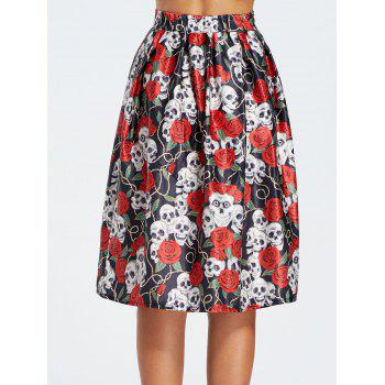 Halloween Skull Flower Print Skirt - COLORMIX L