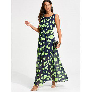 Polka Dot Maxi Swing Dress - Fluorescente Verte 2XL