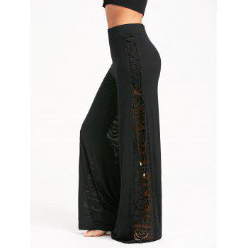 Criss Cross and Lace Panel Palazzo Pants