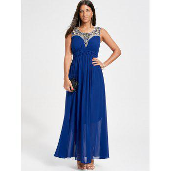 Rhinestone Ruched Maxi Party Dress - BLUE BLUE
