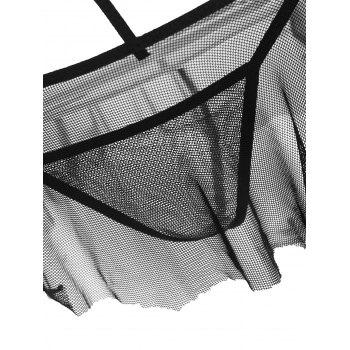 Fishnet Strappy Sheer Lingerie Bralette and Skirt - BLACK BLACK