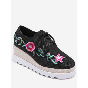 Denim Embroidered Wedge Shoes - BLACK BLACK