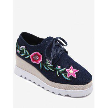 Denim Embroidered Wedge Shoes - DEEP BLUE DEEP BLUE