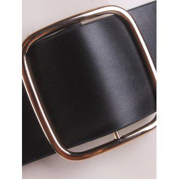Artificial Leather Rectangle Buckle Wide Coat Belt -  BLACK