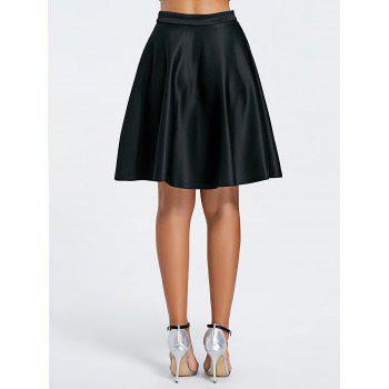 Stylish Women's Solid Color Flare Skirt - BLACK S