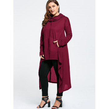 Plus Size Funnel Collar Maxi Asymmetric Hoodie - WINE RED 6XL