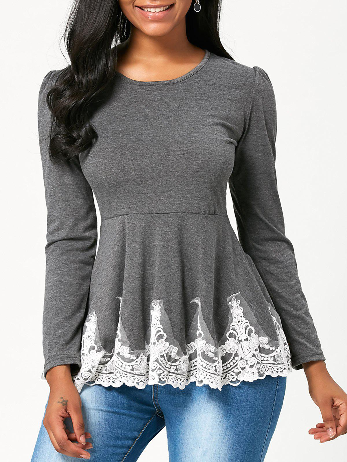 High Waisted Lace Trim Long Sleeve T-shirt - GRAY L