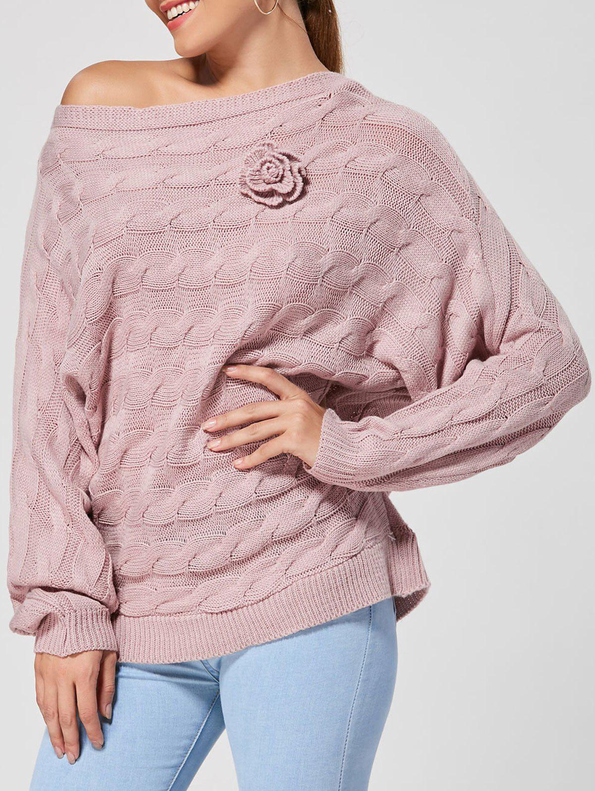 Dolman Sleeve Floral Cable Knit Sweater цена 2017