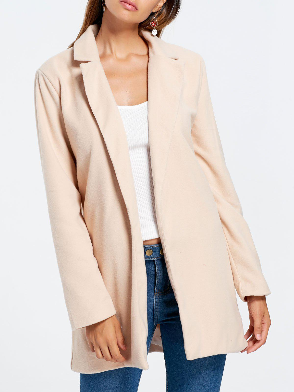 Slim Fit Long Lapel Blazer - APRICOT XL