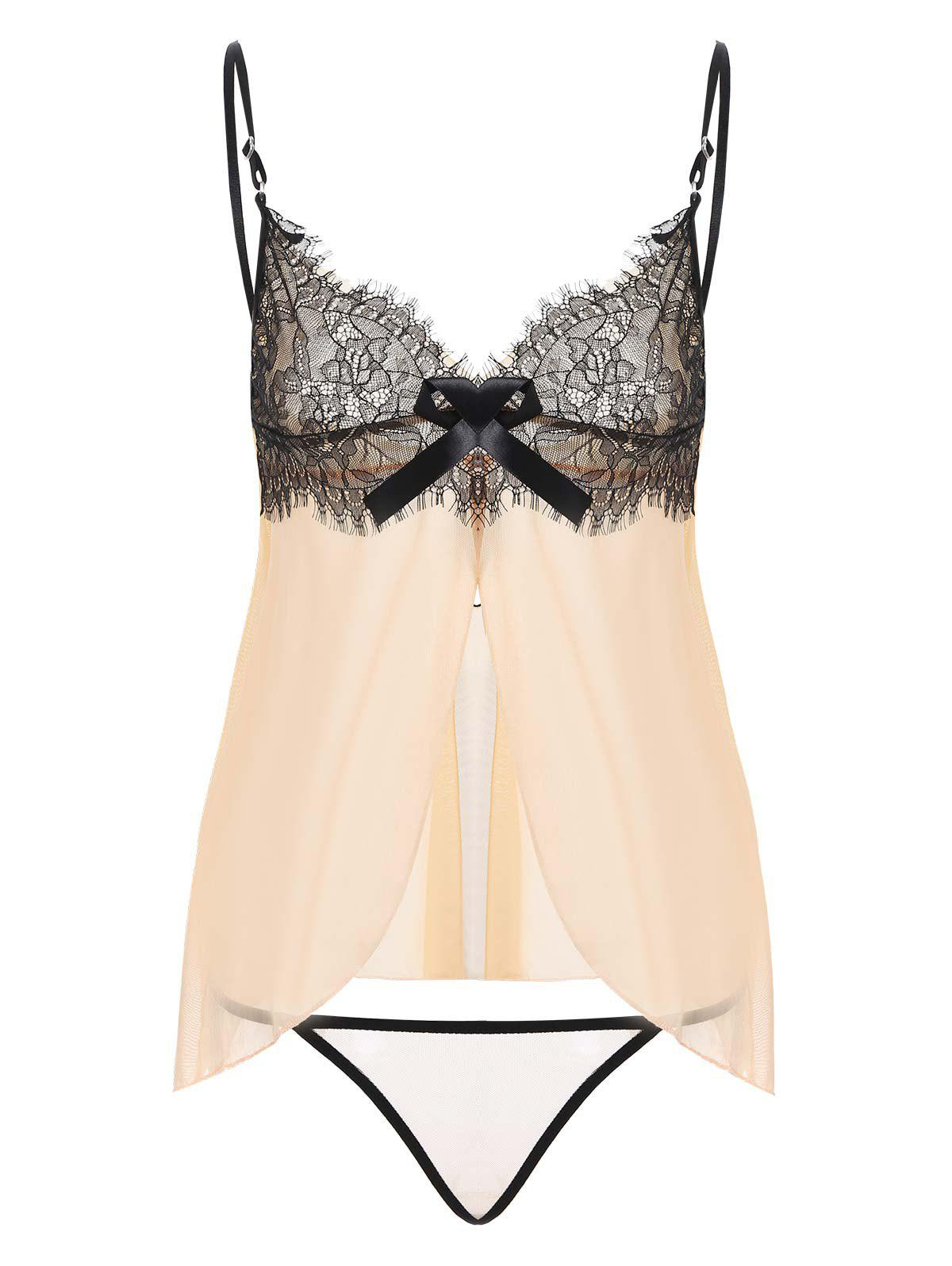 Lace Insert Sheer Slit Lingerie Camisole - COMPLEXION M