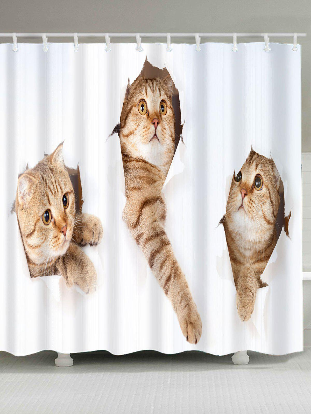 Cute Cats Printed Waterproof Shower Curtain