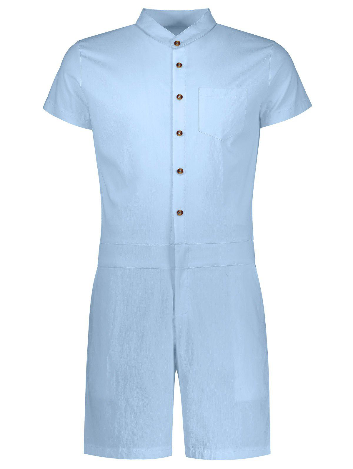 Single Breasted Short Sleeve Romper - LIGHT BLUE 2XL