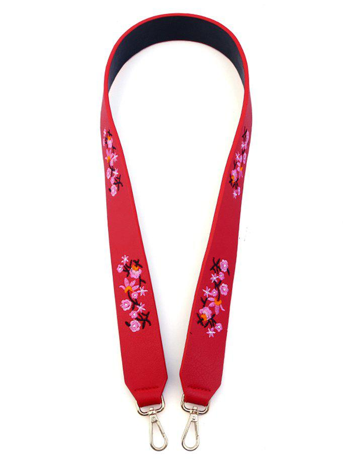 Tiny Floral Embroidered Bag Strap - RED