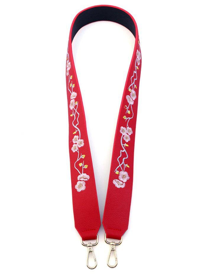 Wintersweet Embroidered PU Bag Strap - RED