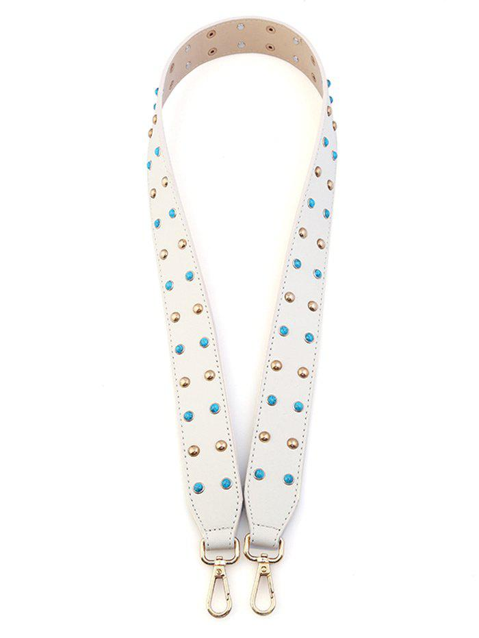 Rivet Beaded Insert PU Bag Strap - WHITE