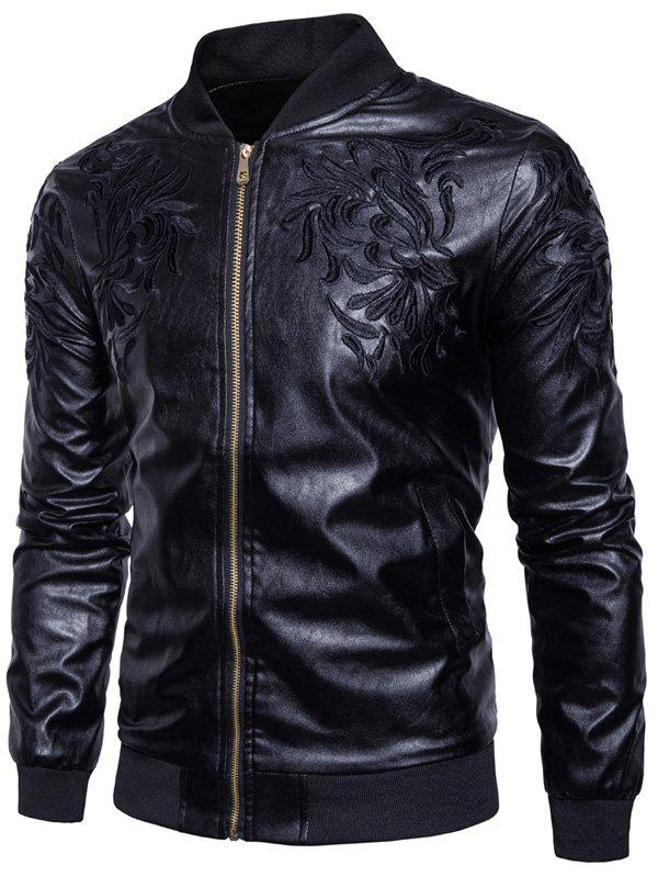 Embroidered Zip Up PU Leather Jacket embroidered faux leather zip up jacket