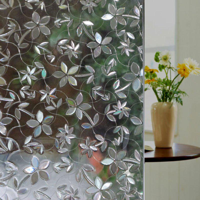 Flower PVC Electrostatic Window Glass Wall Decal - CLEAR WHITE