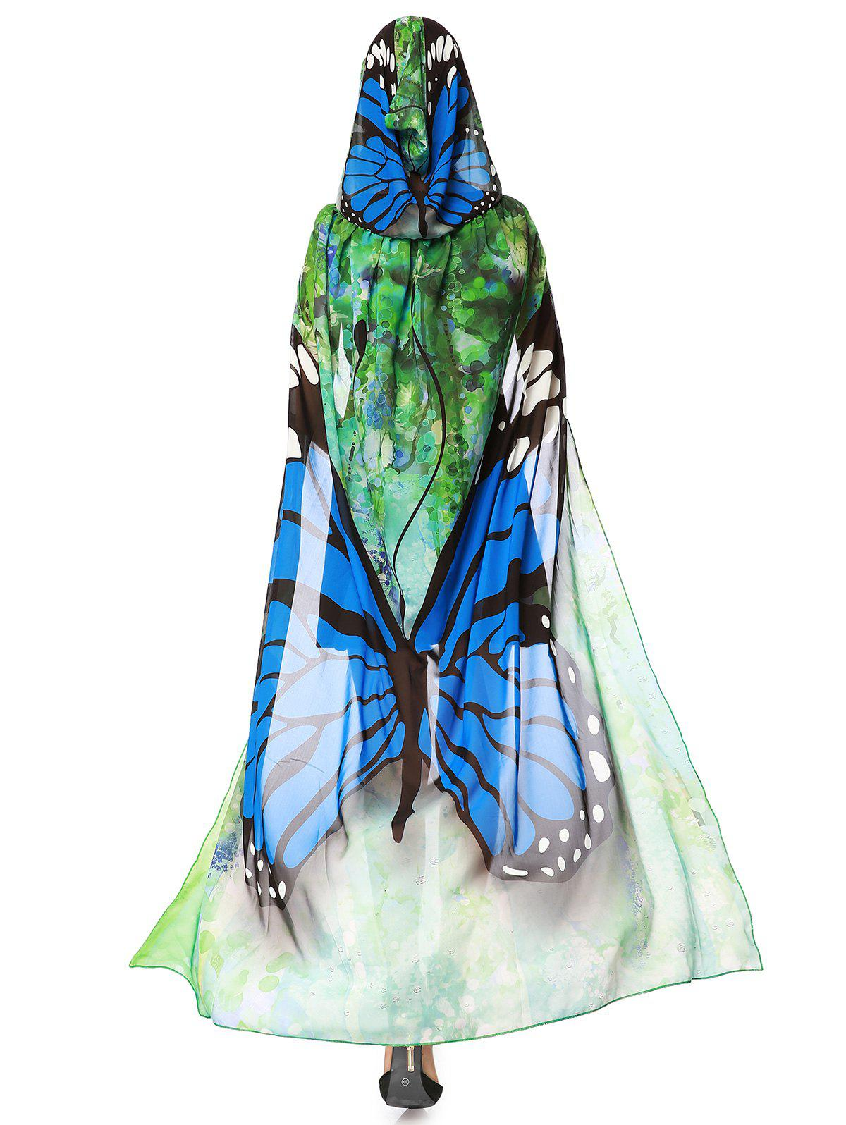17  Off  2019 Butterfly Design Chiffon Festival Hooded Cape In Blue
