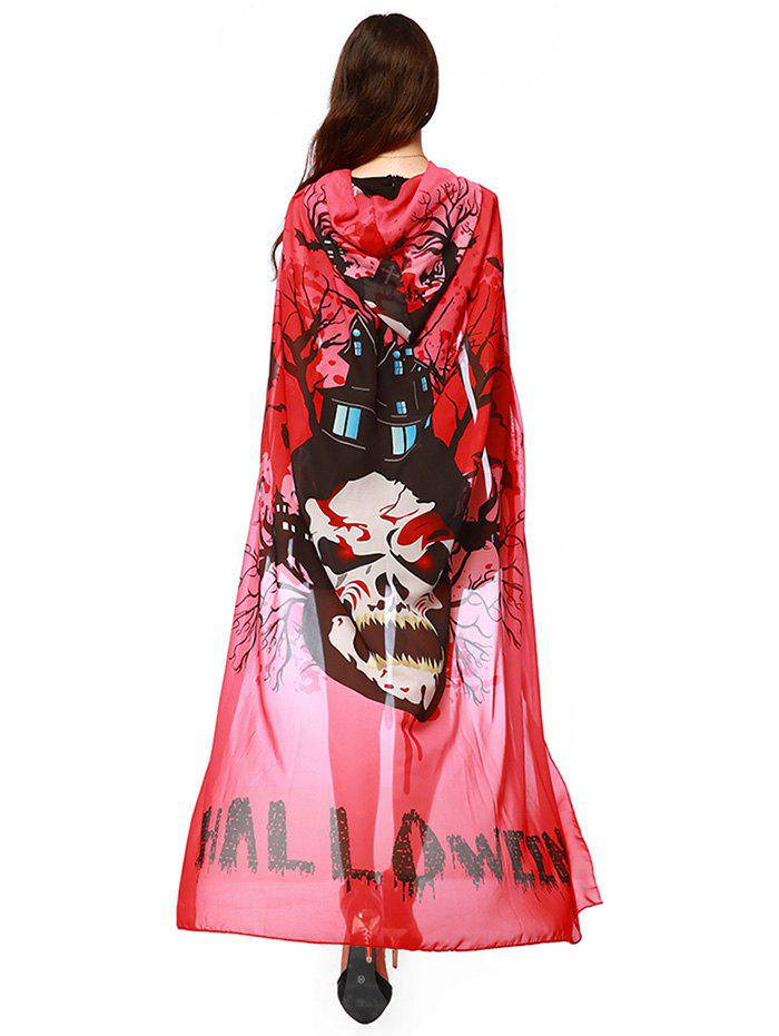 Witch Element Hooded Chiffon Halloween Cape - BRIGHT RED