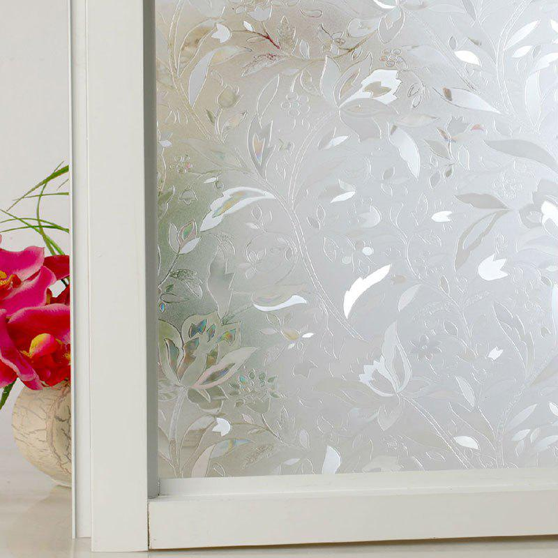 Flower Electrostatic Window Glass Wall Decal - CLEAR WHITE
