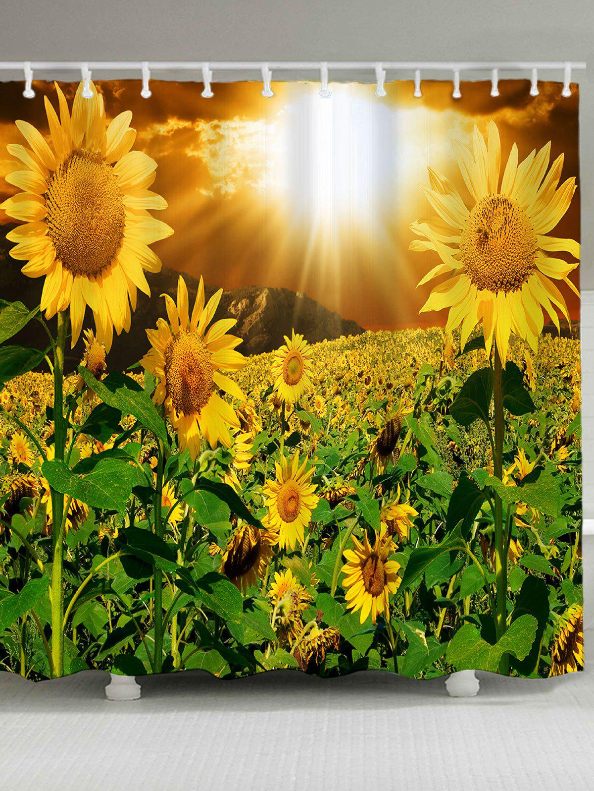 2018 waterproof sunshine sunflowers printec shower curtain. Black Bedroom Furniture Sets. Home Design Ideas