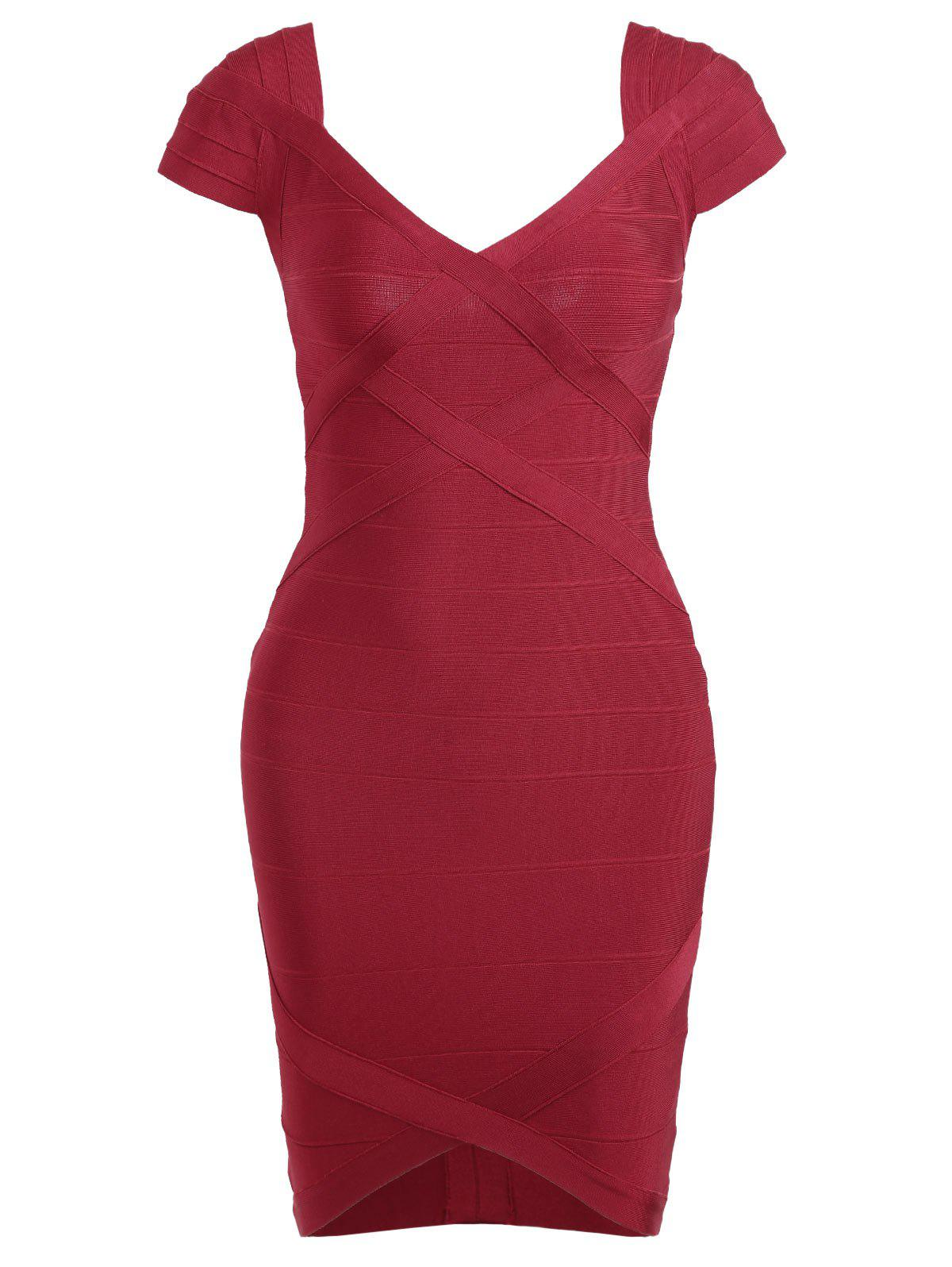 Cap Sleeve V Neck Bandage Dress - RED L