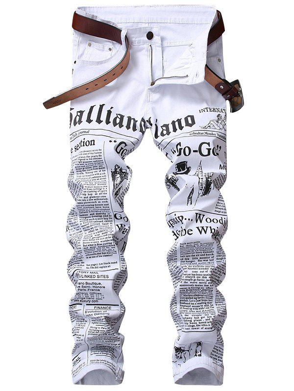 Zipper Fly Journal Print Jeans - WHITE 34