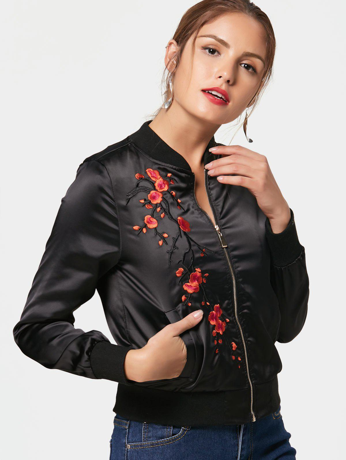 Plum Blossom Embroidery Bomber Jacket - BLACK 2XL