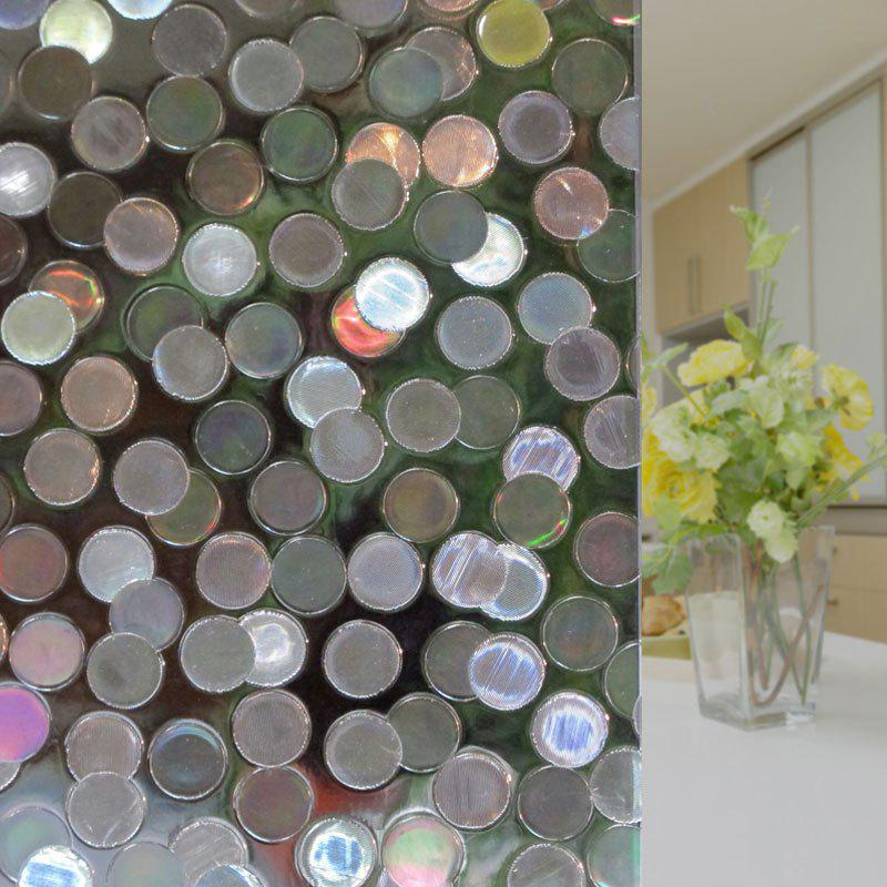 Electrostatic PVC Round Pattern Glass Wall Sticker - CLEAR WHITE